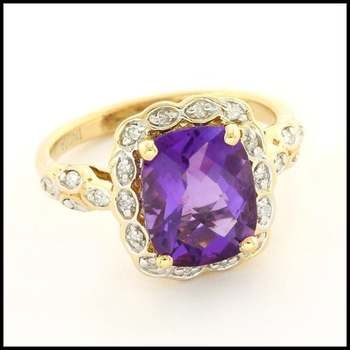 Solid 14k Yellow Gold, 0.12ctw Genuine Diamond & 4.00ctw Amethyst Ring Size 6