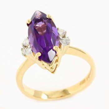 Solid 14k Yellow Gold, 0.12ctw Genuine Diamond & 5.25ctw Amethyst Ring Sz 6.25