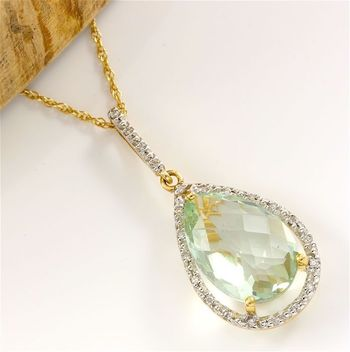 Solid 14k Yellow Gold, 0.15ctw Genuine Diamond & 12.50ctw Green Amethyst Necklace