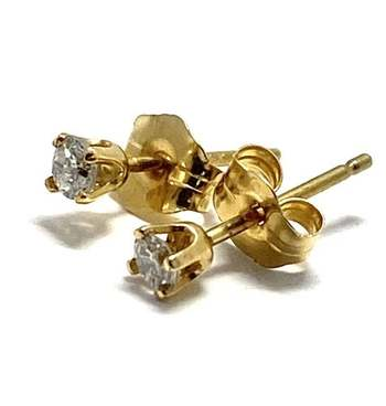 Solid 14k Yellow Gold, 0.15ctw Genuine Diamond Stud Earrings