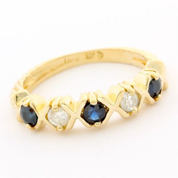 Solid 14k Yellow Gold, 0.20ctw Genuine Diamond & 0.45ctw Sapphire Ring  Size 7.5
