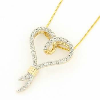 Solid 14k Yellow Gold, 0.25ctw Genuine Diamond Necklace with Heart Shape Pendant