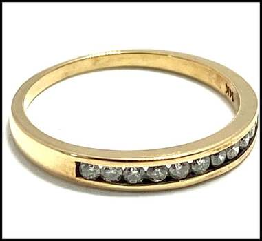 Solid 14k Yellow Gold, 0.25ctw Genuine Diamond Ring Size 8.5