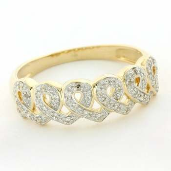 Solid 14k Yellow Gold, 0.25ctw Genuine Diamond Ring Size 9