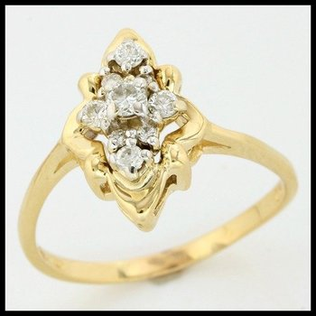 Solid 14k Yellow Gold, 0.25ctw Genuine Diamonds Ring size 7.5