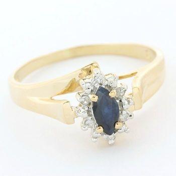 Solid 14k Yellow Gold, 0.25ctw Genuine Sapphire & 0.08ctw Genuine Diamond Ring size 7