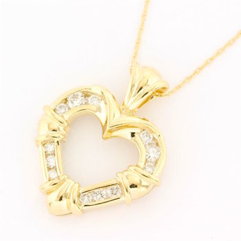 Solid 14k Yellow Gold, 0.30ctw Genuine Diamond Necklace with Heart Shape Pendant