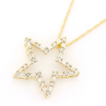 Solid 14k Yellow Gold, 0.30ctw Genuine Diamond Necklace with Pendant