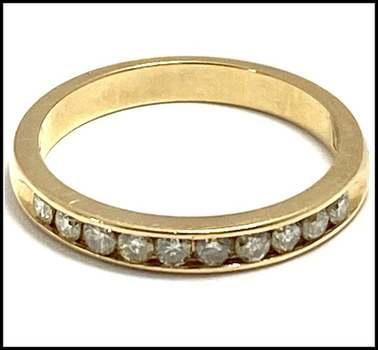 Solid 14k Yellow Gold, 0.32ctw Genuine Diamond Wedding Ring Size 6