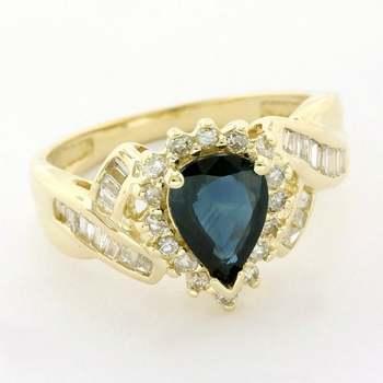 Solid 14k Yellow Gold, 0.50ctw Genuine Diamond & 1.25ctw Sapphire Ring Size 7