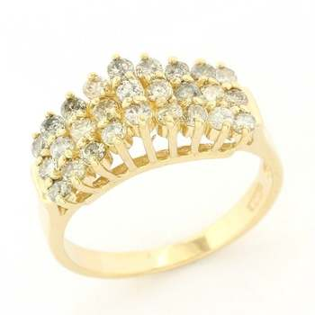 Solid 14k Yellow Gold, 0.50ctw Genuine Diamond Pyramid Design Ring Size 5.5
