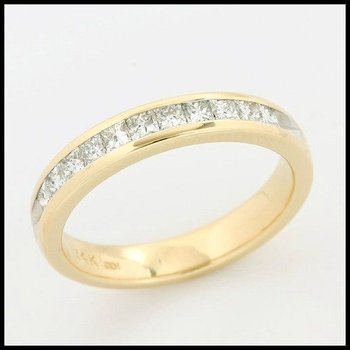 Solid 14k Yellow Gold, 0.50ctw Genuine H/SI Diamonds Band Ring size 7