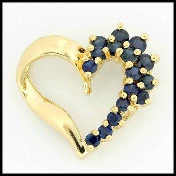 Solid 14k Yellow Gold, 0.50ctw Genuine Sapphire Heart Shape Pendant
