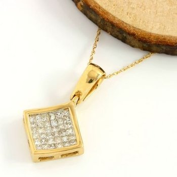 Solid 14k Yellow Gold, 0.50ctw I/SI1-SI2 Diamonds Pendant Necklace