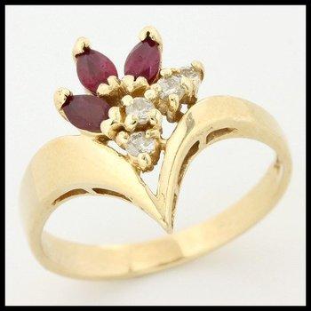 Solid 14k Yellow Gold, 0.60ctw Genuine Garnet & Genuine Diamonds Ring sz 8