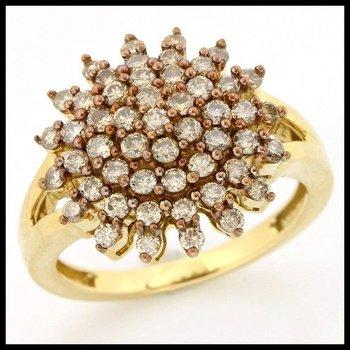 Solid 14k Yellow Gold, 0.62ctw Genuine Diamonds Ring sz 7