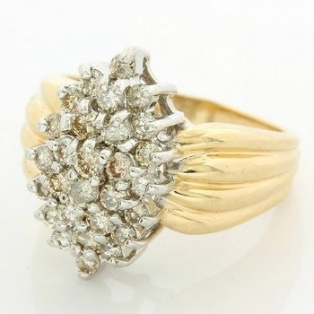 Solid 14k Yellow Gold, 0.75ctw Genuine Diamonds Ring size 7