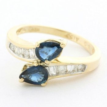 Solid 14k Yellow Gold, 0.75ctw Genuine Sapphire & 0.25ctw Genuine Diamond Ring size 6.5