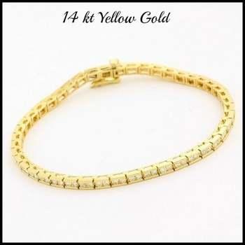 Solid 14k Yellow Gold, 1.00ctw Genuine Diamond Bracelet