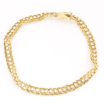 Solid 14k Yellow Gold, 1.00ctw Genuine Diamond Tennessee Bracelet