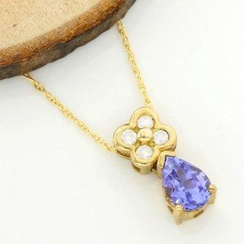 Solid 14k Yellow Gold, 1.075ctw of Genuine Diamonds & Tanzanite Necklaces