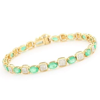 Solid 14k Yellow Gold, 13.50ctw Genuine Emerald & 0.10ctw Genuine Diamond Bracelet