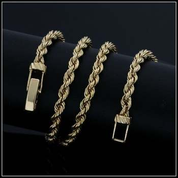 """Solid 14k Yellow Gold, 15"""" Inch Rope Chain"""
