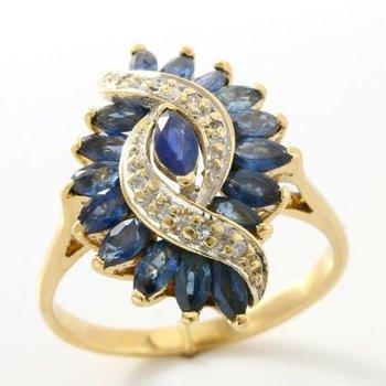 Solid 14k Yellow Gold, 2.14ctw Genuine Diamonds & Sapphire Ring sz 6.5