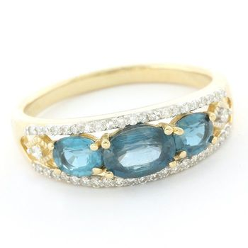 Solid 14k Yellow Gold, 2.60ctw Genuine Blue Kyanite & 0.21ctw Genuine Diamond Ring size 9