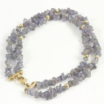 Solid 14k Yellow Gold, 28.50ctw Genuine Tanzanite Bracelet
