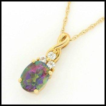 Solid 14k Yellow Gold, 2.95ctw Genuine Mystic Topaz & White Topaz Pendant Necklace