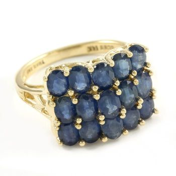 Solid 14k Yellow Gold, 3.00ctw Genuine Sapphire Ring Size 5.25