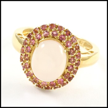 Solid 14k Yellow Gold, 3.15ctw Moon Stone & Pink Topaz Ring size 7.5