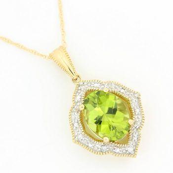 Solid 14k Yellow Gold, 3.25ctw Genuine Peridot & 0.03ctw Genuine Diamond Pendant Necklace