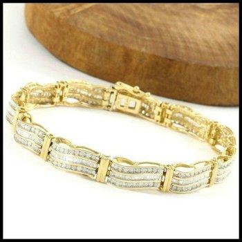 Solid 14k Yellow Gold, 4.00ctw Genuine H-I/SI2-SI3 Diamonds Bracelet