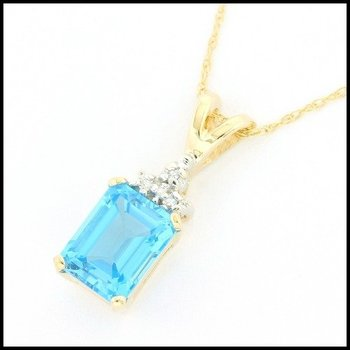 Solid 14k Yellow Gold, 4.25ctw Genuine Blue Topaz & 0.04ctw Genuine Diamond Necklace