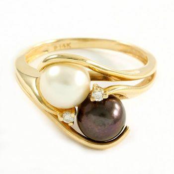 Solid 14k Yellow Gold, 6mm Fresh Water Pearl & 0.025ctw Genuine Diamond Ring Sz 6