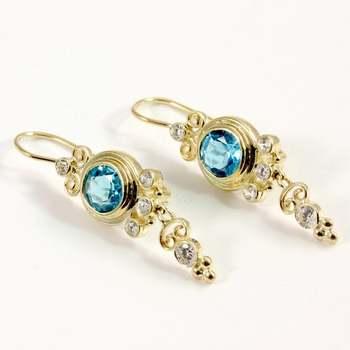 Solid 14k Yellow Gold Genuine Blue & White Topaz Earrings