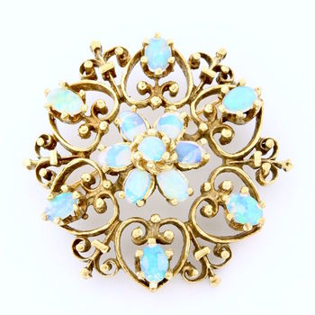 Solid 14k Yellow Gold, Genuine Opal Antique 1920's Brooch