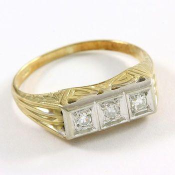 Solid 14k Yellow Gold & Platinum, Genuine Diamond Ring Size 6.5