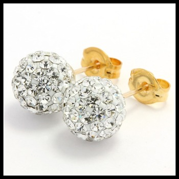 Solid 14k Yellow Gold, Swarovski Crystal 8mm Ball Stud Earrings