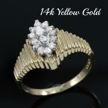Solid 14k Yellow & White Gold, 0.25ctw Genuine Diamond Ring Size 5.25