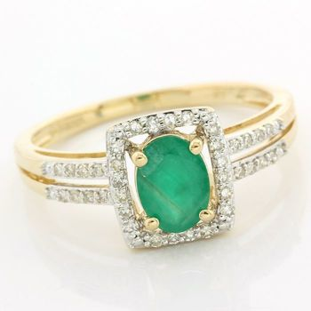 Solid 14k Yellow & White Gold, 0.80ctw Genuine Emerald & 0.18ctw Genuine Diamond Ring size 7.5