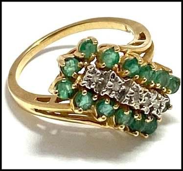 Solid 14k Yellow&White Gold, 0.07ctw Genuine Diamond & 0.75ctw Emerald Ring Size 6