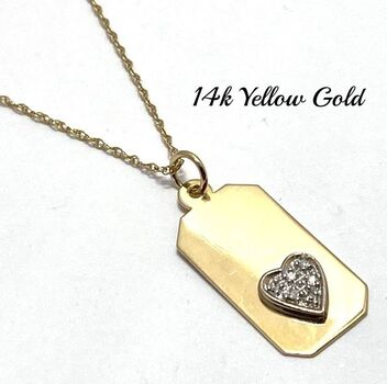 Solid 14k Yellow&White Gold, 0.08ctw Genuine Diamond Necklace