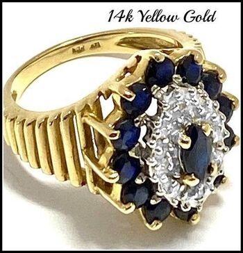 Solid 14k Yellow&White Gold, 0.10ctw Genuine Diamond & 1.50ctw Sapphire Ring Size 6