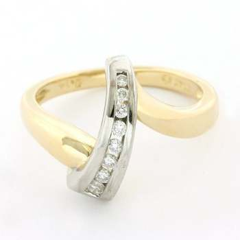 Solid 14k Yellow&White Gold, 0.14ctw Genuine Diamond Ring Size 7
