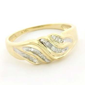 Solid 14k Yellow&White Gold, 0.15ctw Genuine Diamond Ring Size 7.5