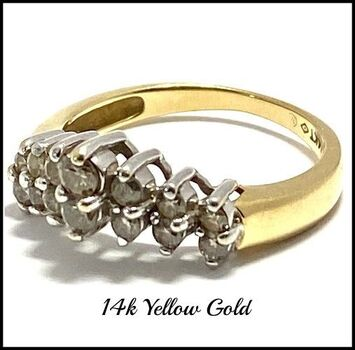 Solid 14k Yellow&White Gold, 0.50ctw Genuine Diamond Cluster Ring Size 6.5