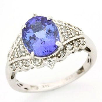 Solid 14kt White Gold, 3.50ct Tanzanite & 0.35ct Diamond Ring Size 7